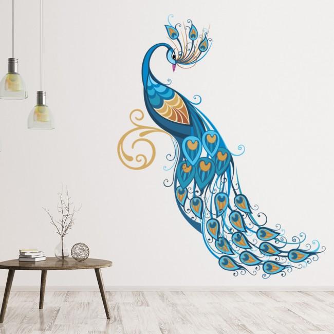 Blue Peacock Wall Sticker