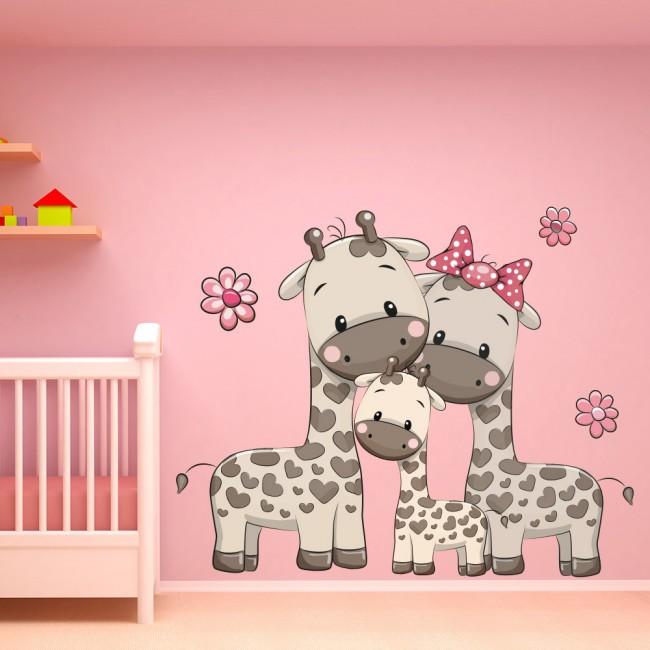 Cute Giraffe Family Nursery Wall Sticker