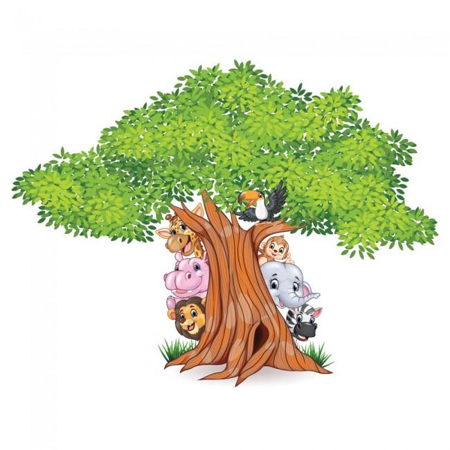 Jungle Tree Wall Sticker Animal Lion Wall Decal Nursery ...