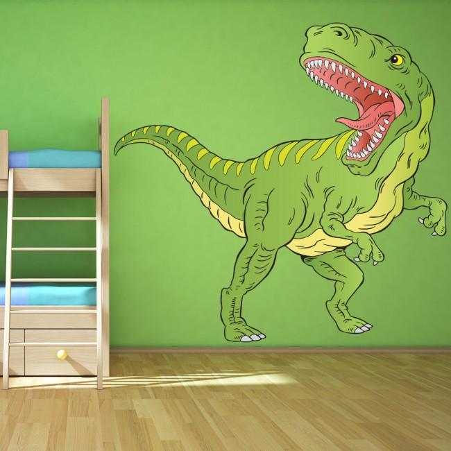Green T Rex Dinosaur Wall Sticker Tyrannosaurus Rex Wall Decal Kids Room Decor