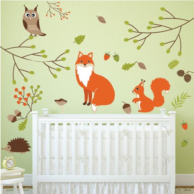 Owls Jungle Animals Wooden Bedroom Furniture Kids: Woodland Animals Wall Sticker Set Fox Owl Wall Decal Kids