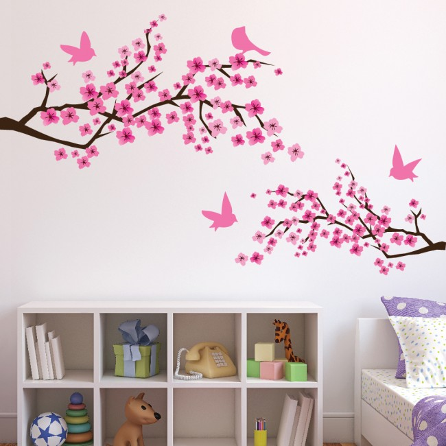 Beautiful Pink Cherry Blossom Wall Sticker Flowers U0026 Birds Wall Decal Girls Bedroom  Decor