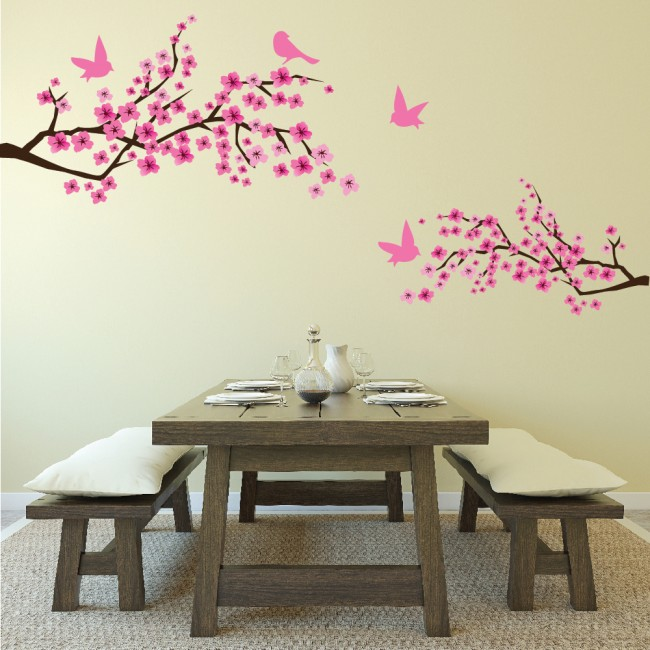Pink Cherry Blossom Flowers Amp Birds Wall Sticker Floral