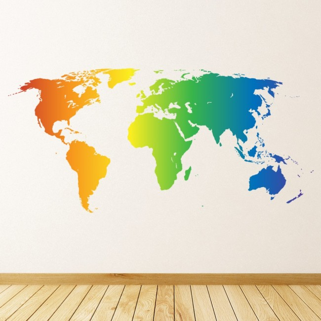 World Map Rainbow Colours Wall Sticker WS-45486