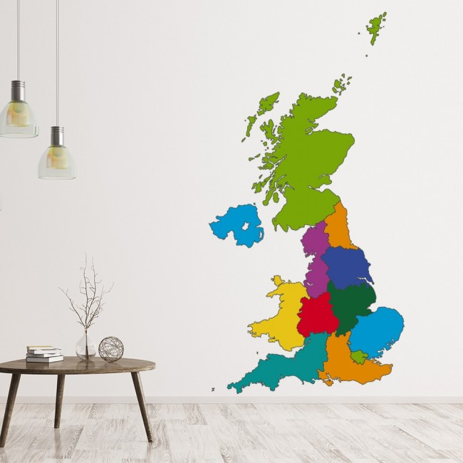 Map Of Uk With Regions.Uk Map Regions England Wall Sticker