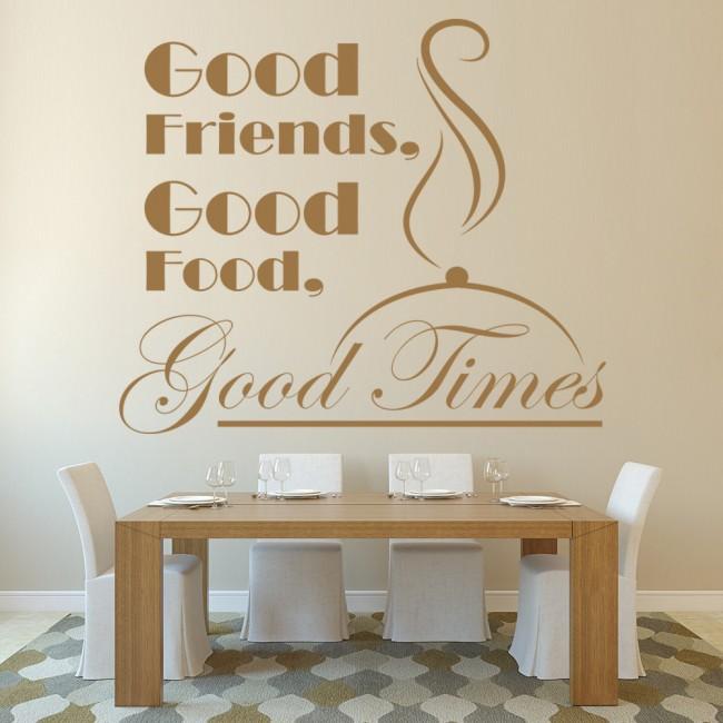 good friends good food kitchen quote wall sticker
