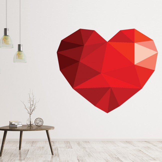 red geometric heart love wall sticker