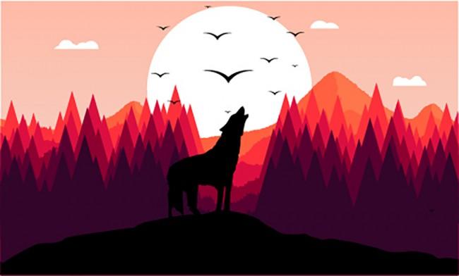 Howling Wolf Mountain Landscape Wall Mural Wallpaper