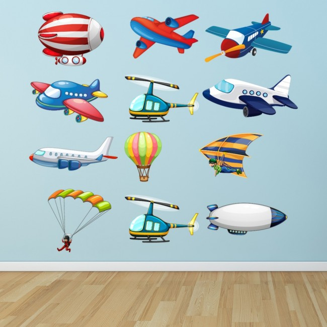 Air Flight Transport Plane Helicopter Wall Sticker Set