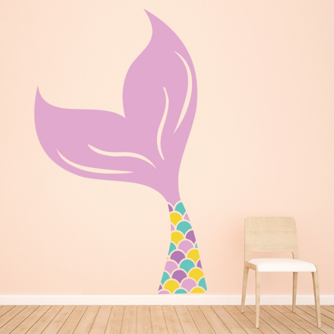 Pink Mermaid Tail Fairytale Wall Sticker WS-50013