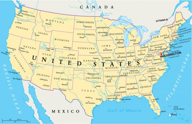 United States Of America Map Wall Mural Wallpaper