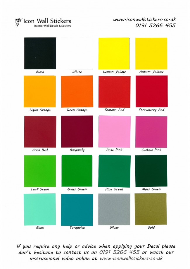 Wall Sticker Sample Colour Swatch
