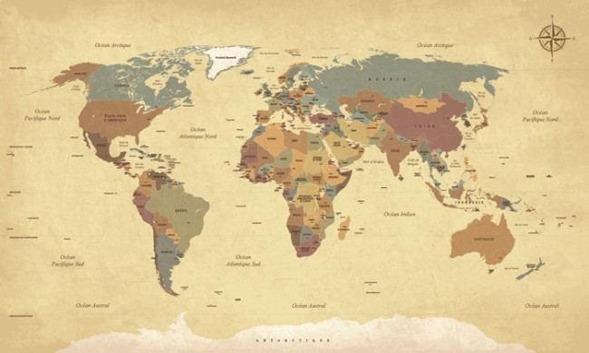 Vintage World Map Wall Mural Wallpaper