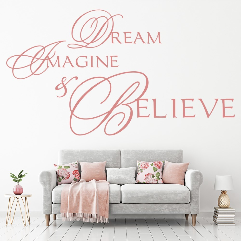 Dream Imagine Believe Wall Sticker Life Quote Wall Decal Teen Girls Home  Decor