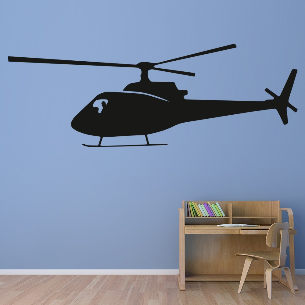Helicopter Wall Sticker Aircraft Transport Wall Decal Boys Bedroom ...