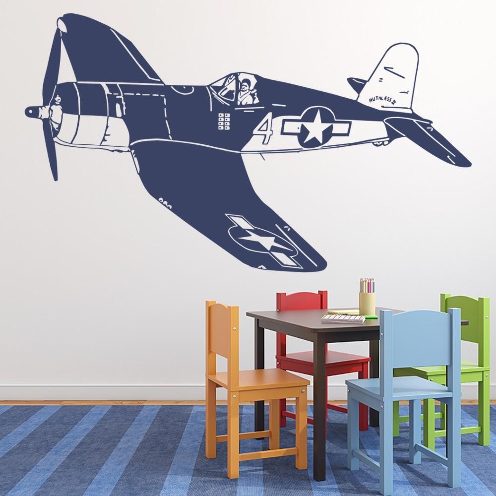 World War 2 Plane Wall Sticker Fighter Jet Wall Decal Boys