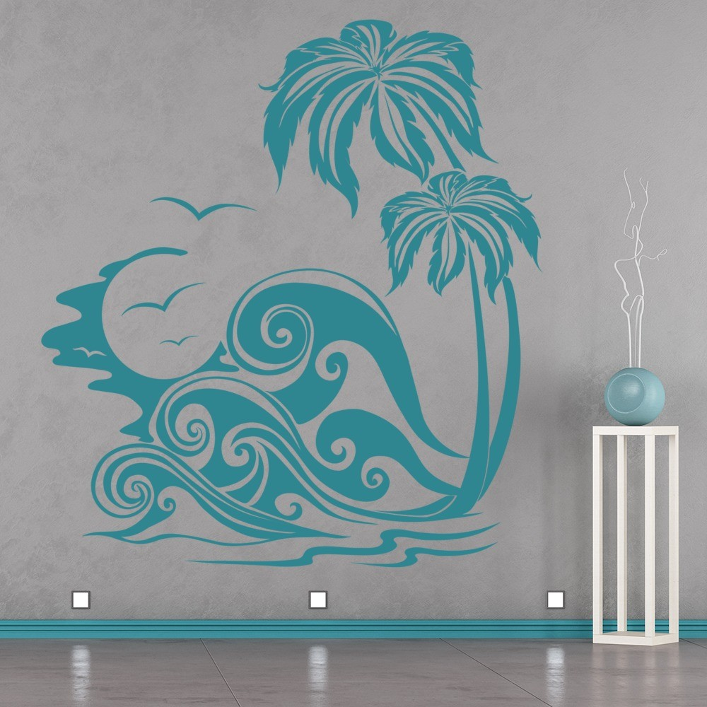 Sea Waves And Palm Trees Wall Sticker Beach Wall Art