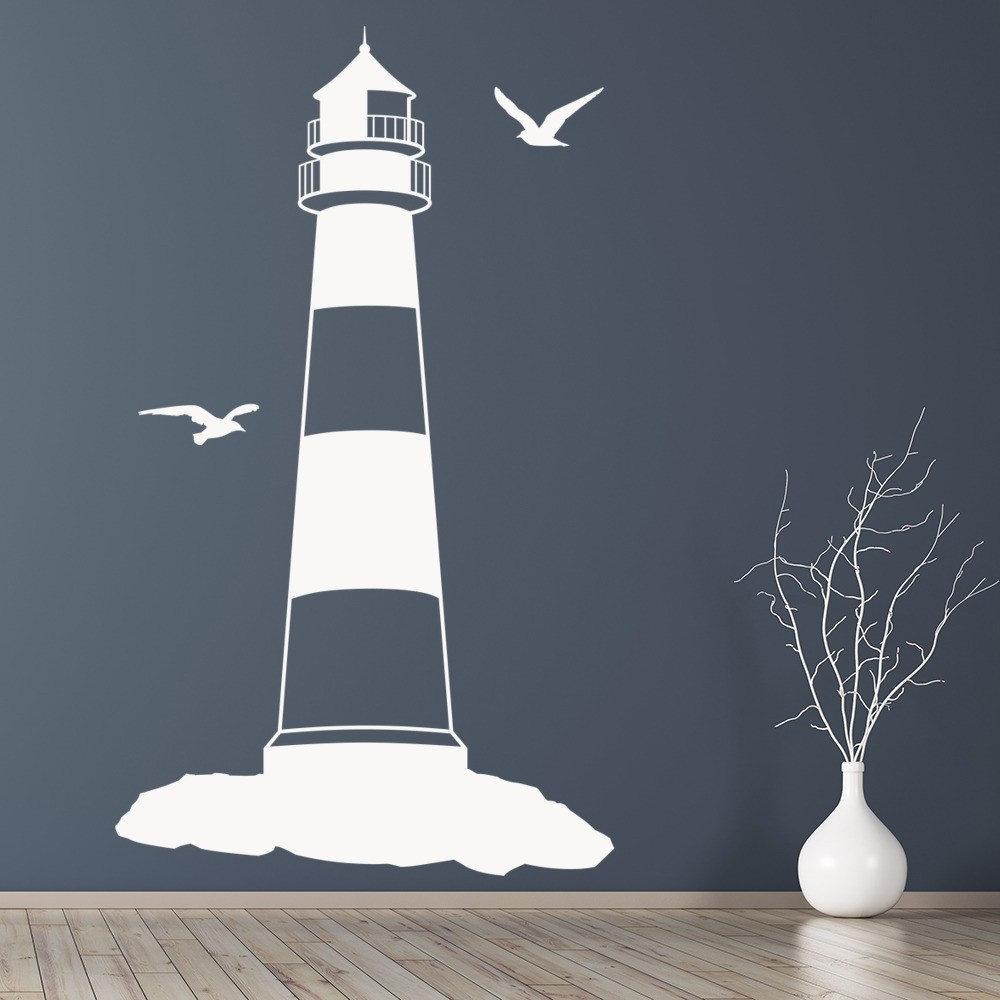 Bathroom wall art stickers - Lighthouse With Seagulls At The Beach Wall Sticker Bathroom Home Decor Art Decal