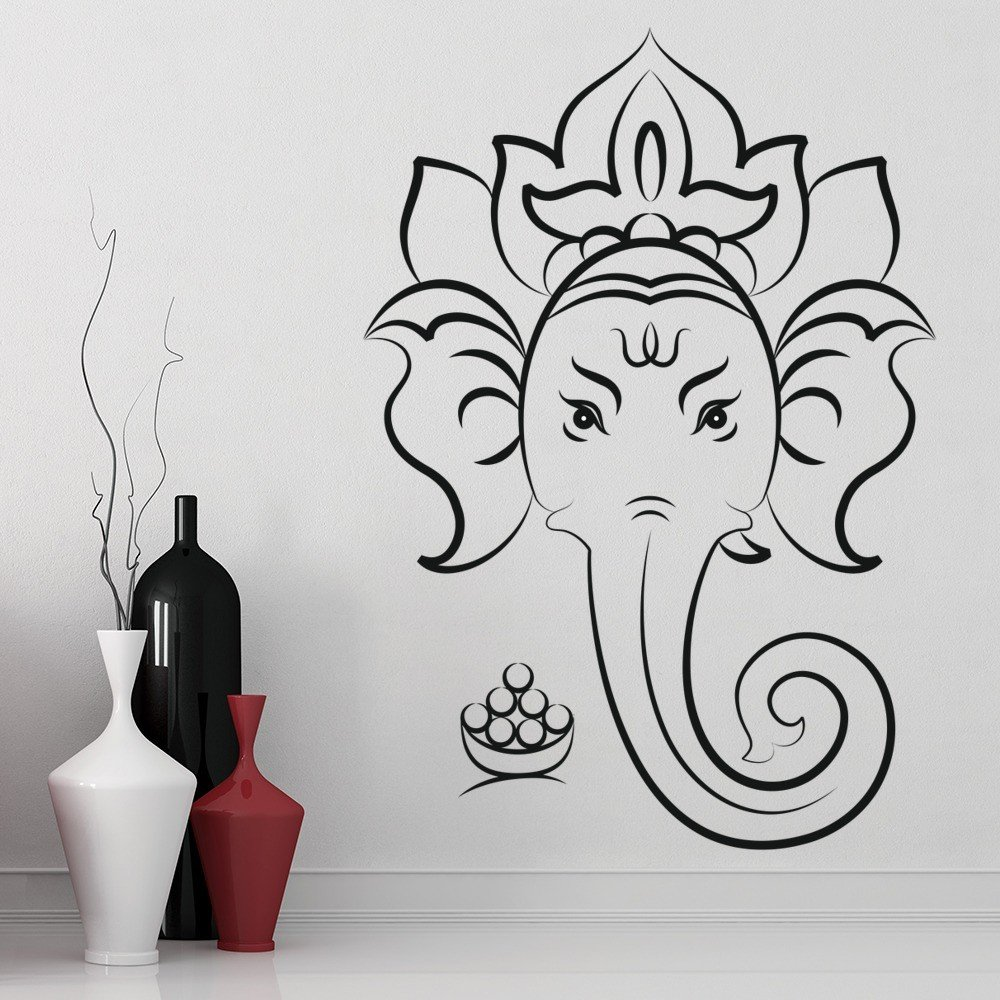Elephant wall stickers iconwallstickers ganesha hindu god outline rest of the world wall stickers home decor art decals amipublicfo Choice Image