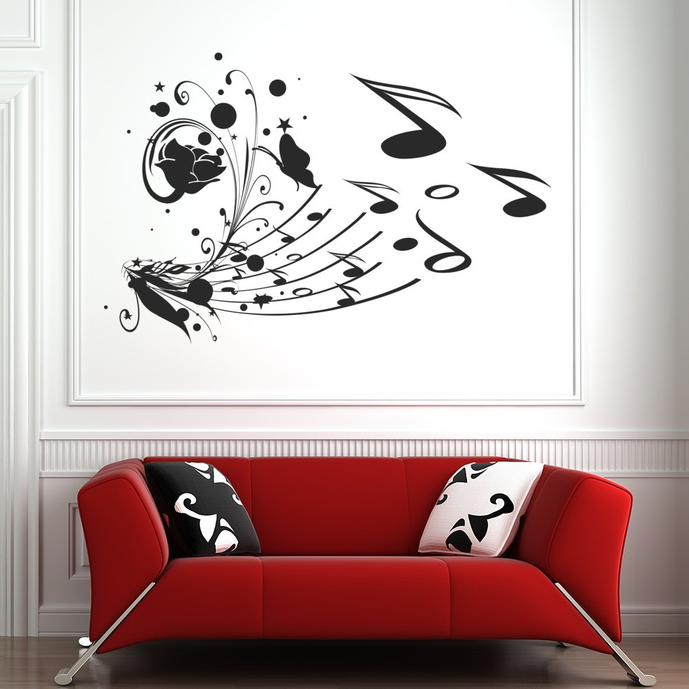 Music Notes Wall Sticker Floral Flowers Wall Decal Bedroom