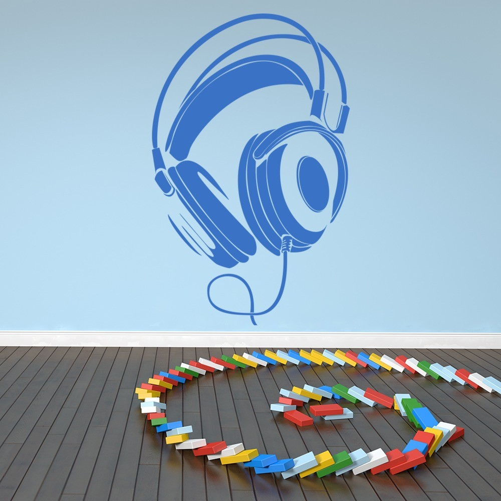 Wired Headphones Stereo Musical Notes U0026 Instruments Wall Sticker Music Art  Decal Part 75