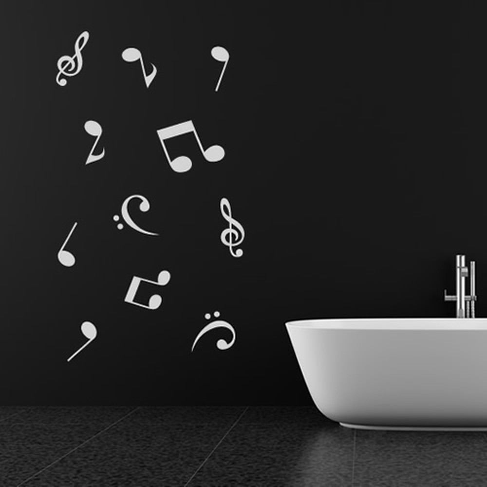 Musical Notes Wall Sticker Set Quaver Treble Clef Wall Decal Music Bedroom Decor
