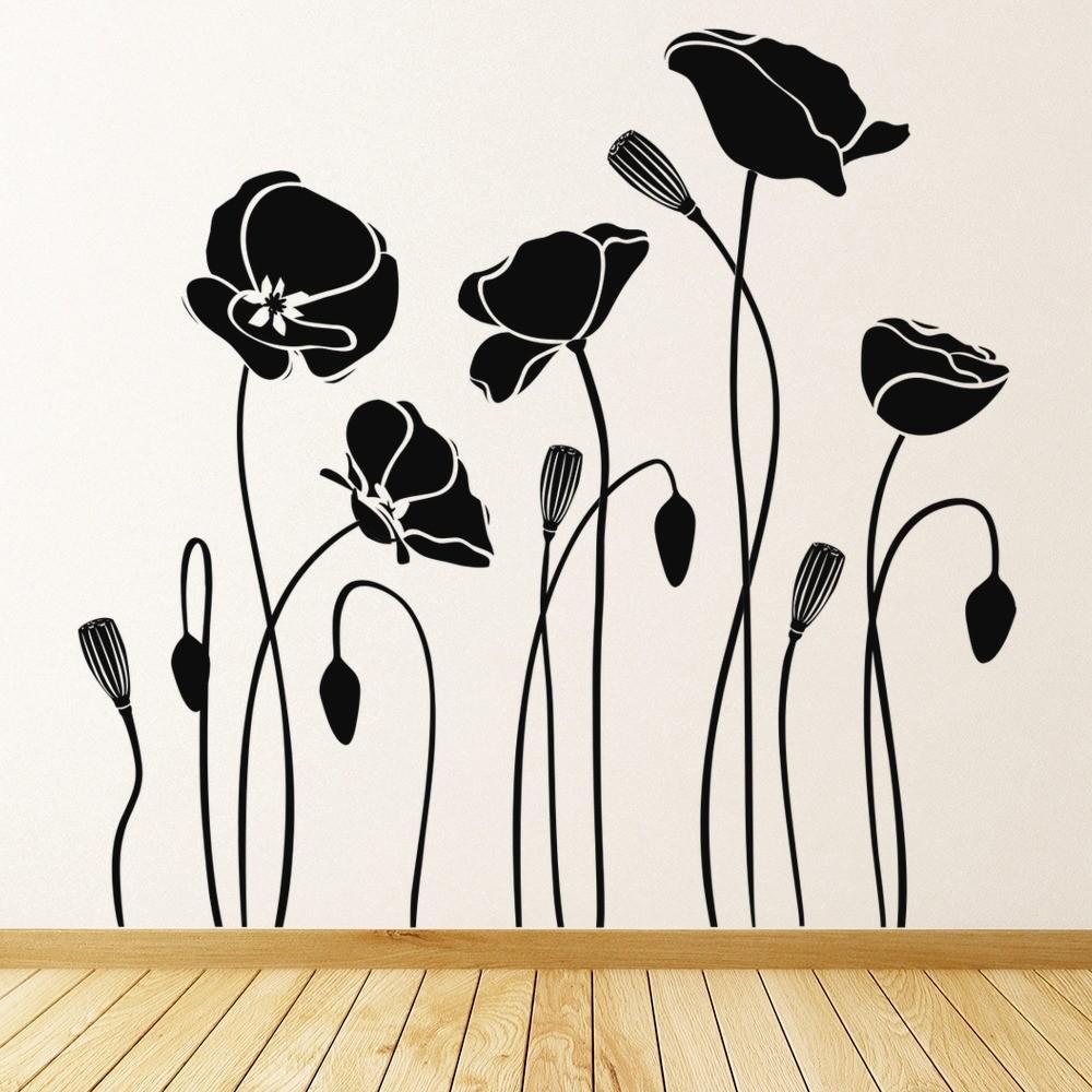 Poppy Flowers Wall Sticker Flowers Wall Art