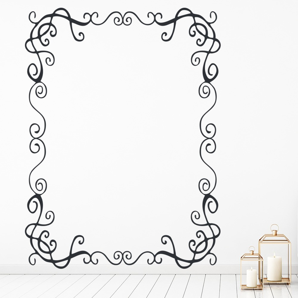 Frame wall sticker image collections home wall decoration ideas brown photo wall decals memory photo flower vine frame mural art rectangular frame wall sticker patterned amipublicfo Choice Image