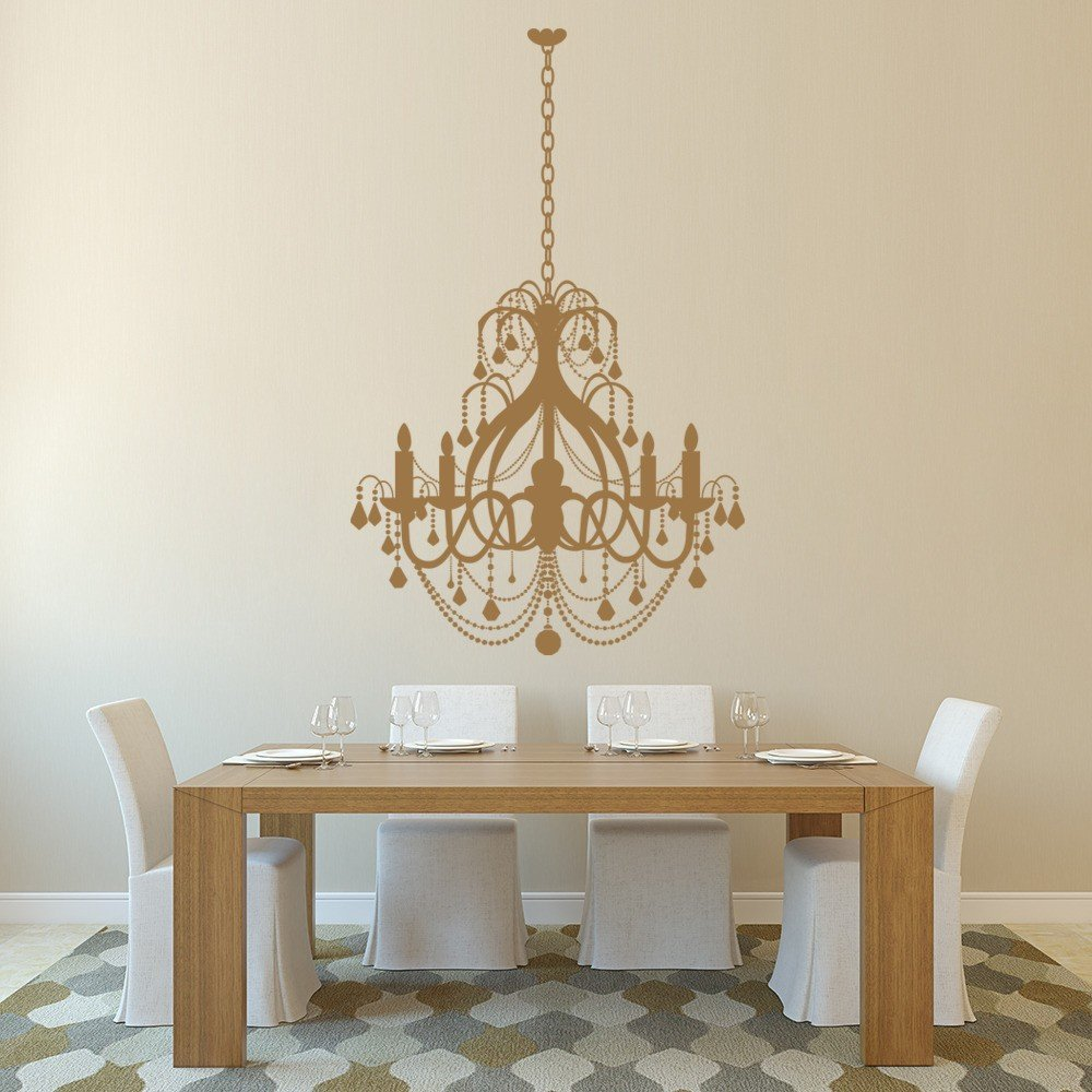 Grand chandelier wall sticker dining room wall decal for Dining room vintage wall art