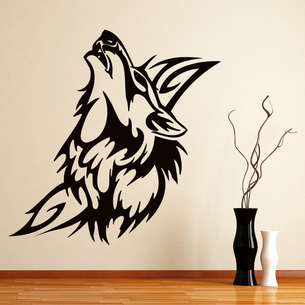 Howling Wolf Wall Sticker Tribal Wall Decal Kids Bedroom