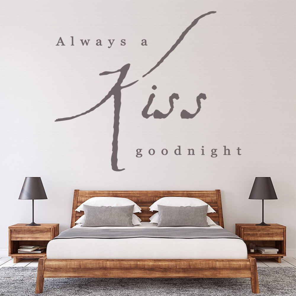 Kiss Goodnight Wall Sticker Love Quote Wall Decal Bedroom Home Decor