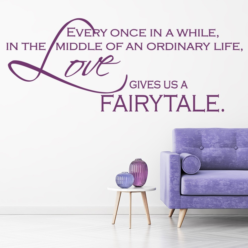 Fairytale Wall Sticker Love Quote Wall Decal Kitchen Bedroom Home Decor