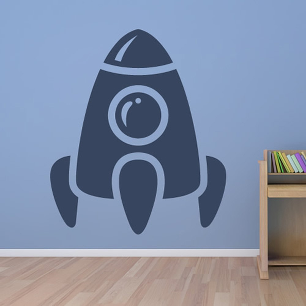 rocket wall sticker space wall art. Black Bedroom Furniture Sets. Home Design Ideas