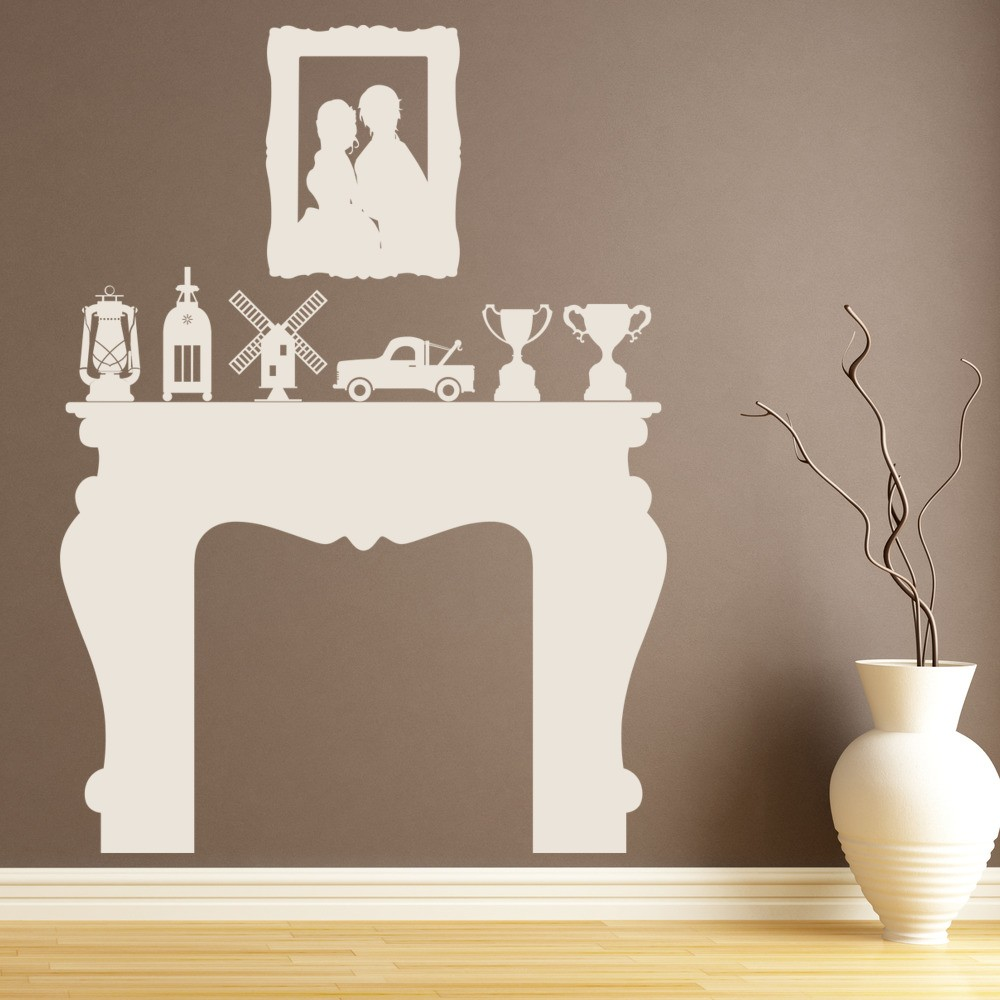 Fire Place Mantel Living Room Dining Room Wall Stickers Home Decor Art  Decals Part 56