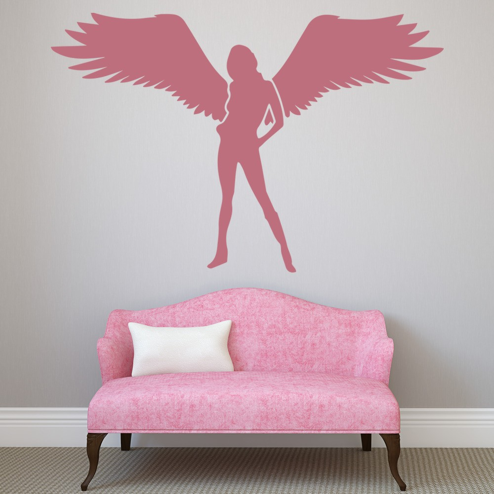 Female angel wall stickers fantasy style wall art for Angel wall decoration