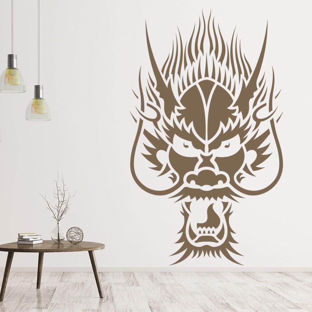 Chinese Dragon Head Wall Sticker Animals Fantasy Wall