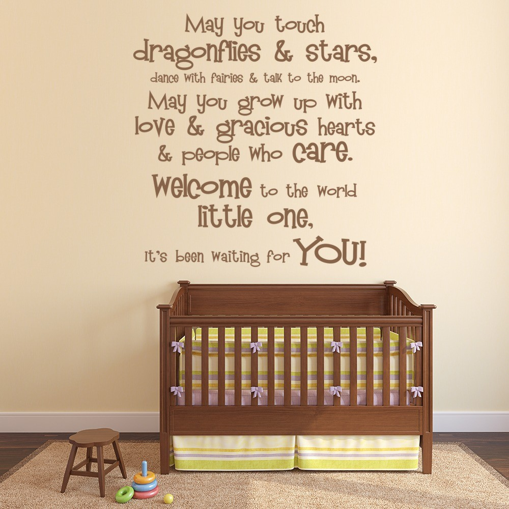 Welcome To The World Wall Sticker Nursery Quote Wall Decal