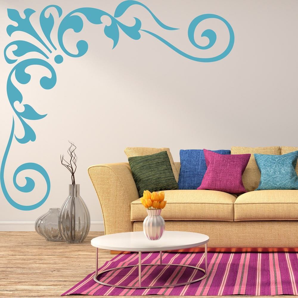 Floral Corners Wall Stickers Iconwallstickerscouk