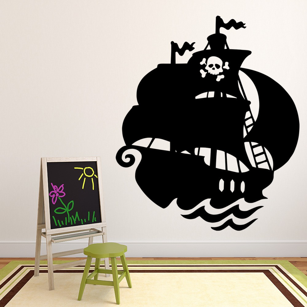 pirate ship wall sticker jolly roger wall decal boys bedroom home decor. Black Bedroom Furniture Sets. Home Design Ideas