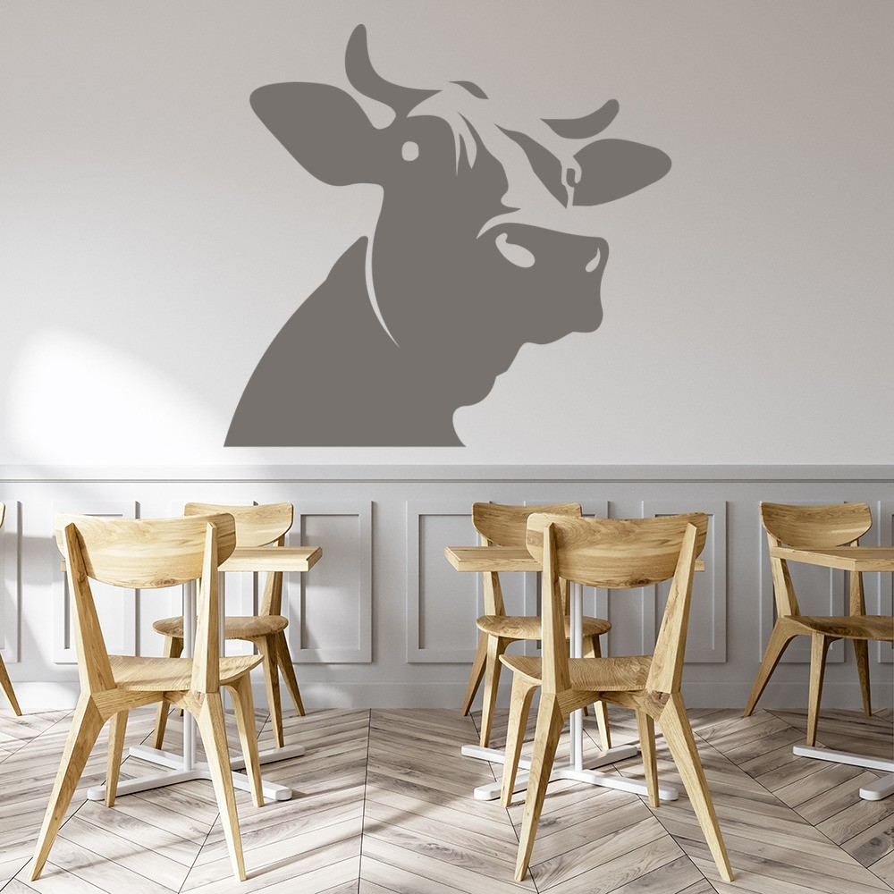 Dairy cow head wall sticker farm animals wall decal kids for Animal wall decoration