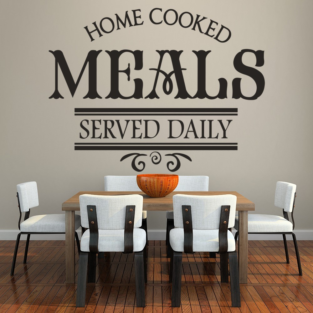 Home Cooked Meals Served Daily Wall Stickers Kitchen Art