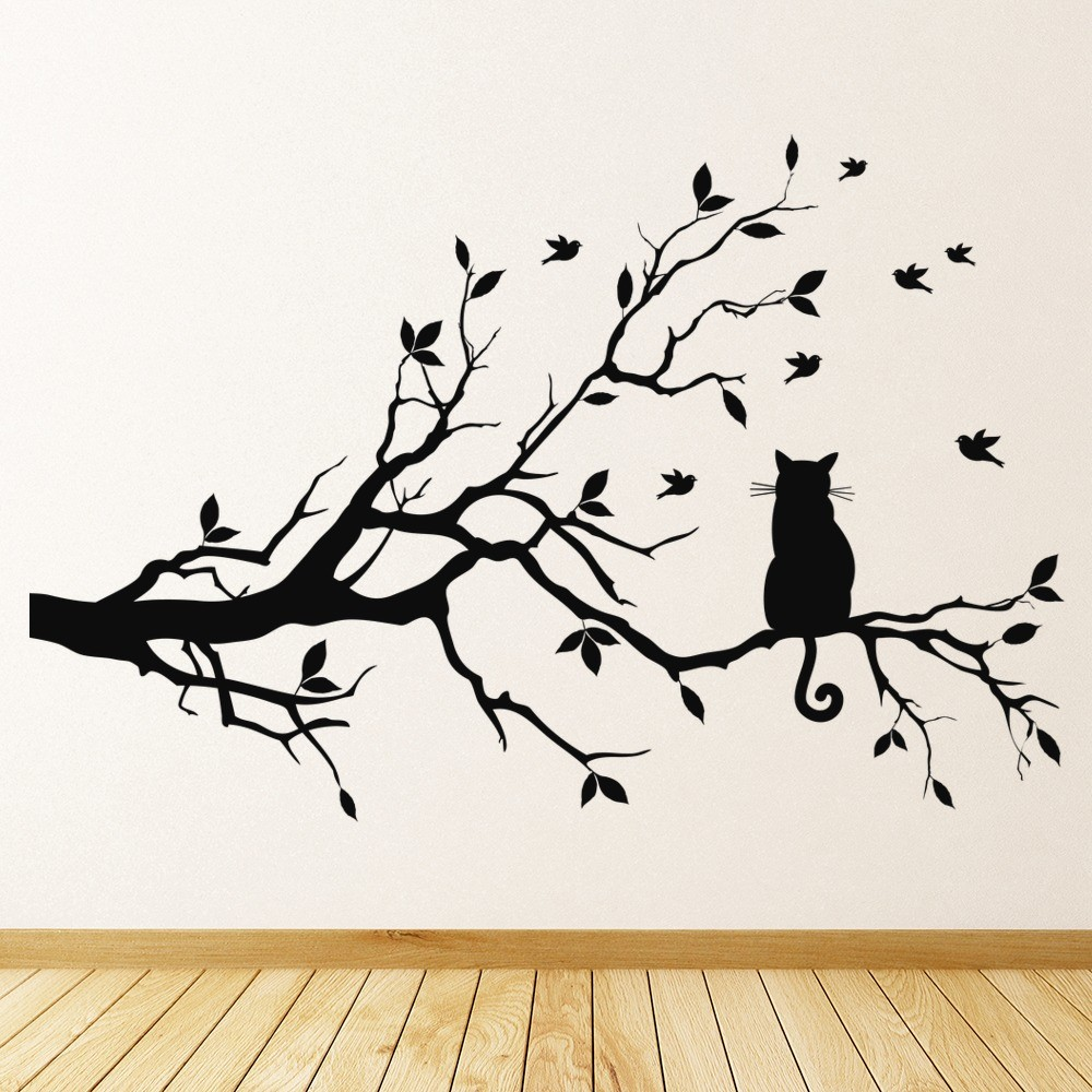 Cat On Tree Branch Feline House Cats Wall Stickers Pets Home Decor Art  Decals Part 3