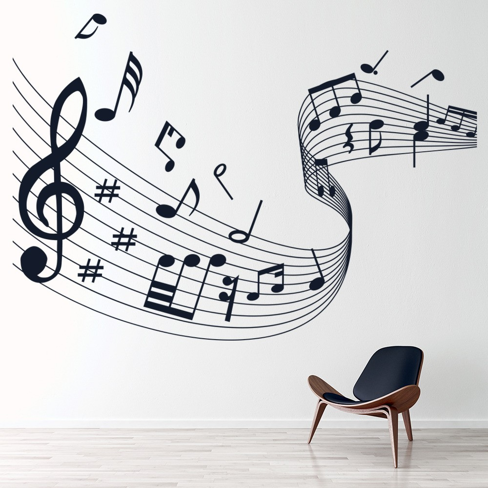Musical Notes Score Wavy Musical Notes U0026 Instruments Wall Stickers Music  Decals