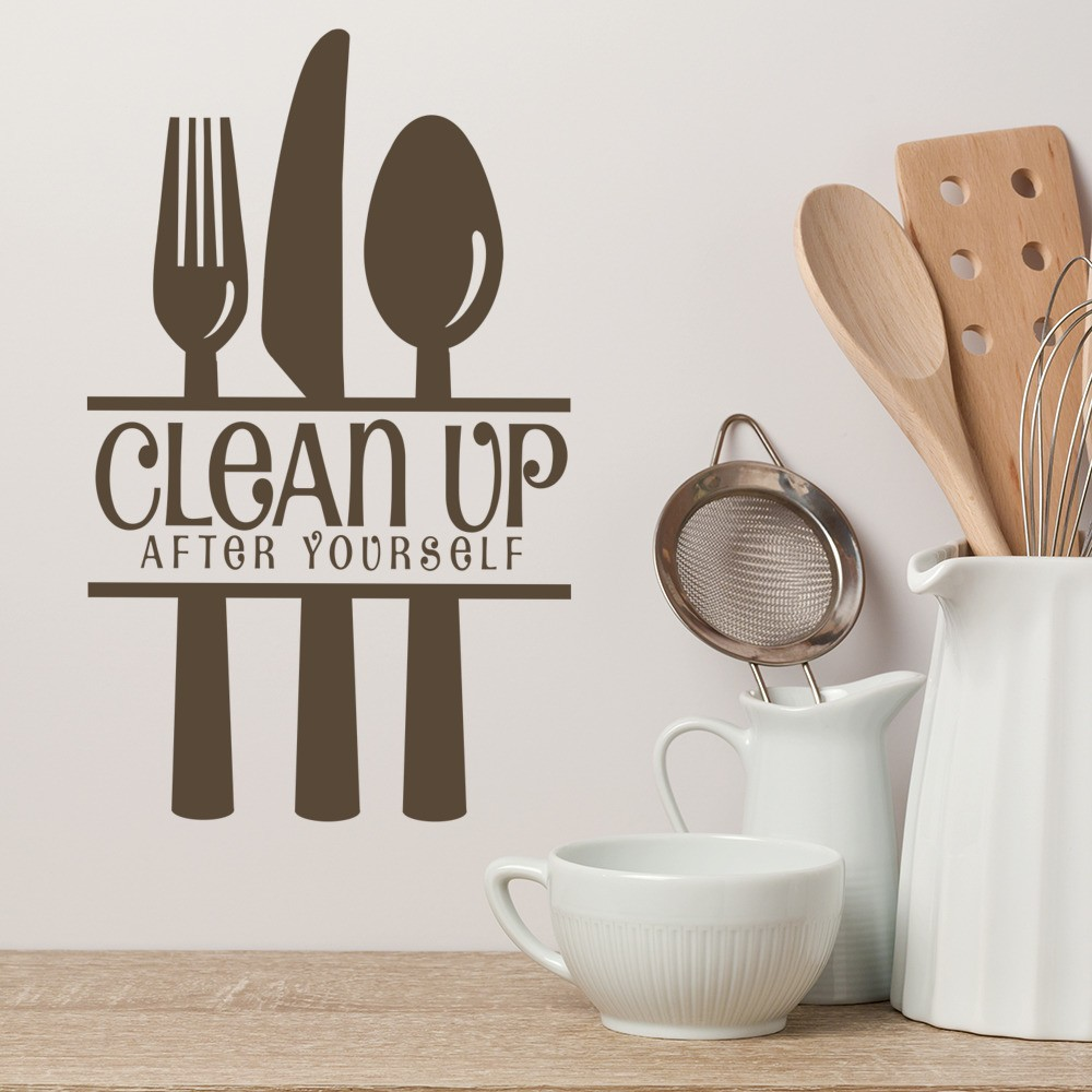 People Cleaning Kitchen: Clean Up After Yourself Wall Sticker Sign Wall Art