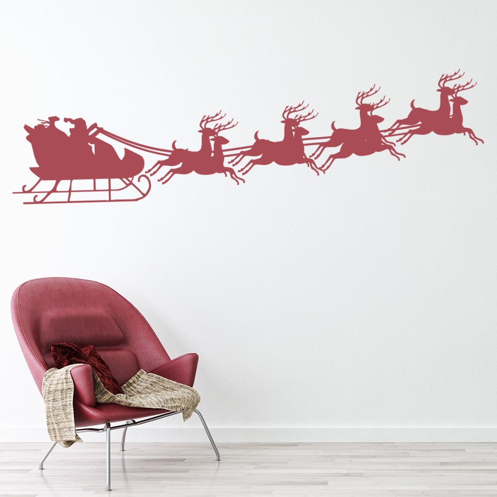 Santa Reindeer Wall Sticker Festive Christmas Wall Decal