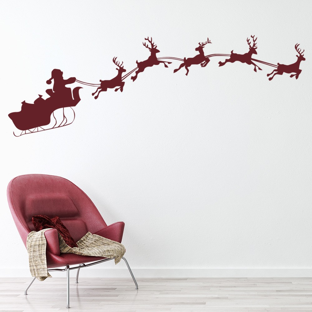 Christmas Wall Decor Images : Santa with sleigh silhouette christmas wall stickers
