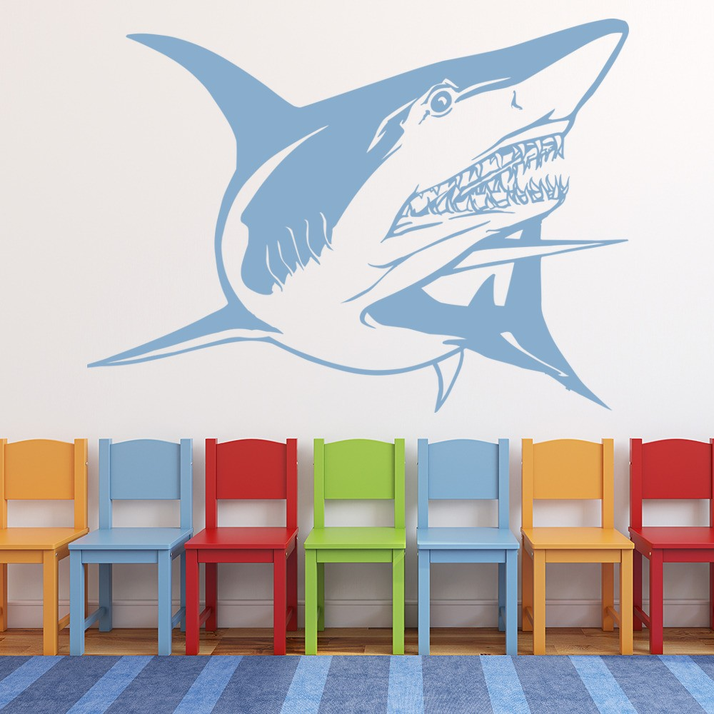 great white shark wall sticker under the sea wall decal bathroom kids home decor. Black Bedroom Furniture Sets. Home Design Ideas