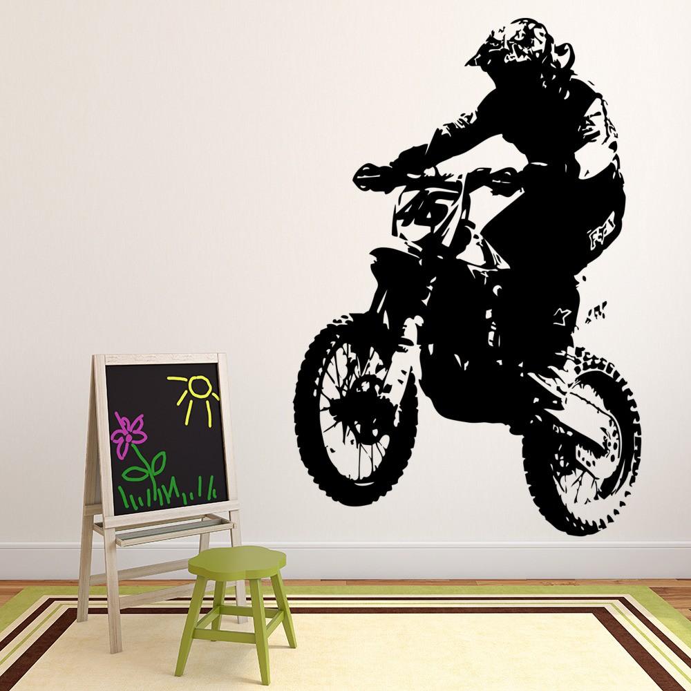 Dirt Bike And Rider Motocross Motorbike Wall Sticker Motor Sport Decor Art  Decal Part 46