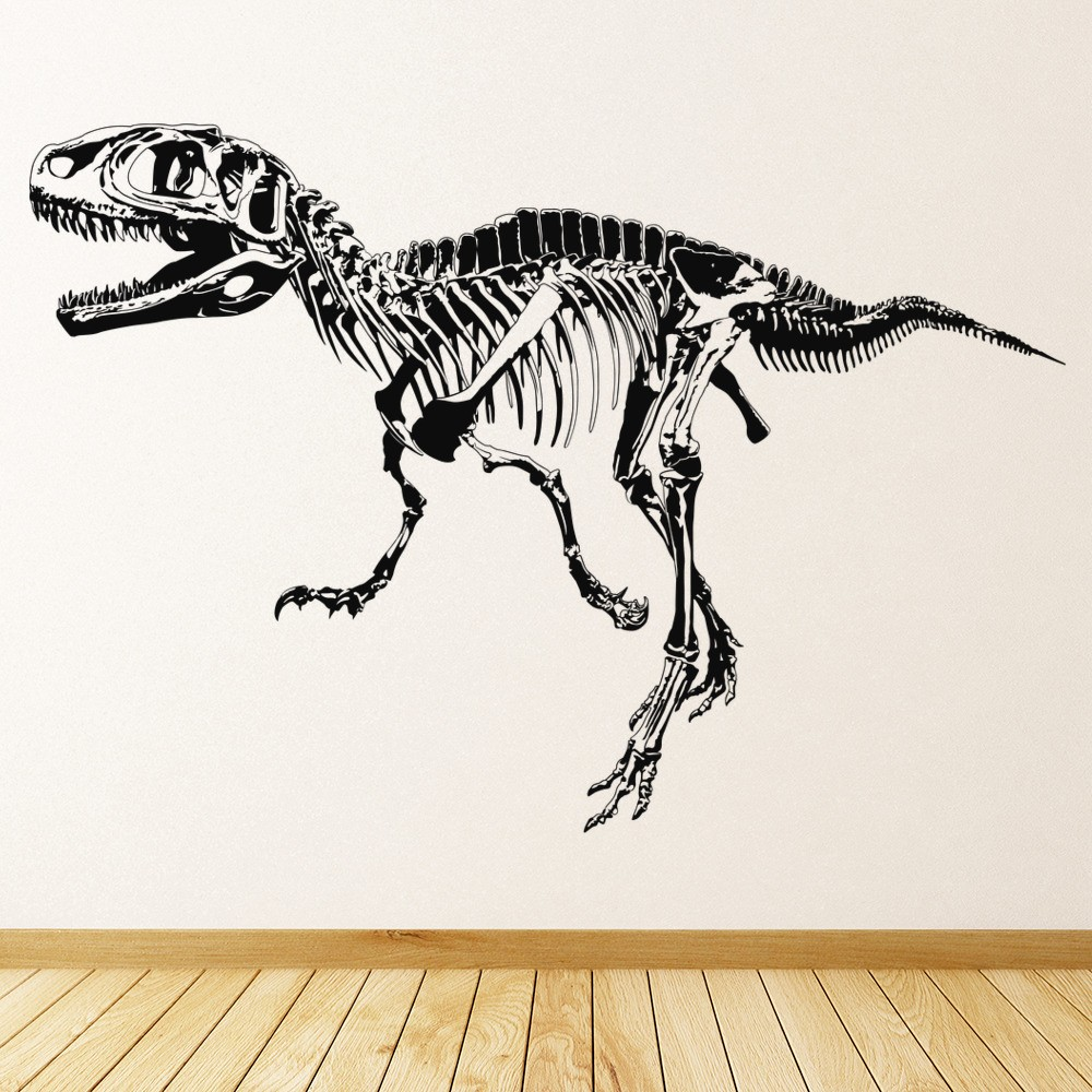 T Rex Skeleton Wall Sticker Jurassic Dinosaur Wall Decal Kids Bedroom Home  Decor