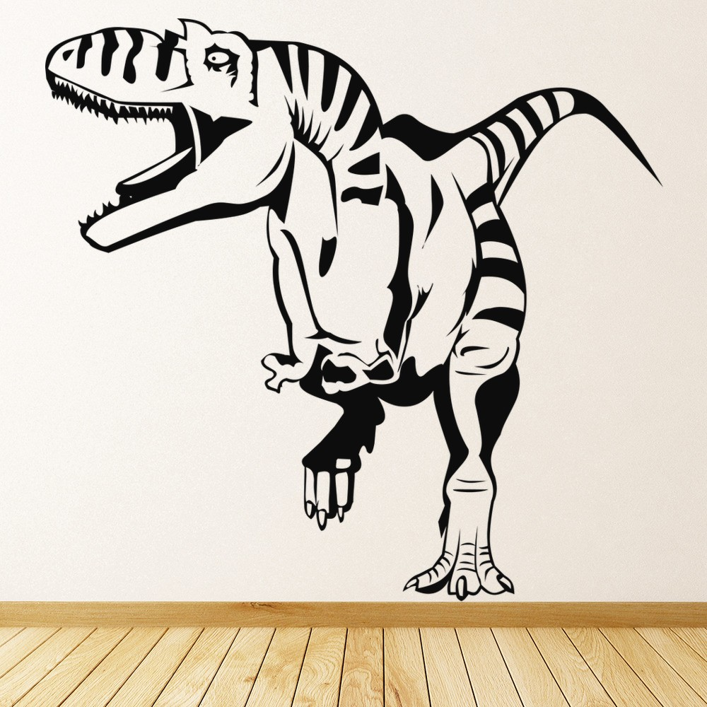 T Rex Front Running Dinosaur Wall Stickers Kids Nursery Bedroom Decor Art  Decals